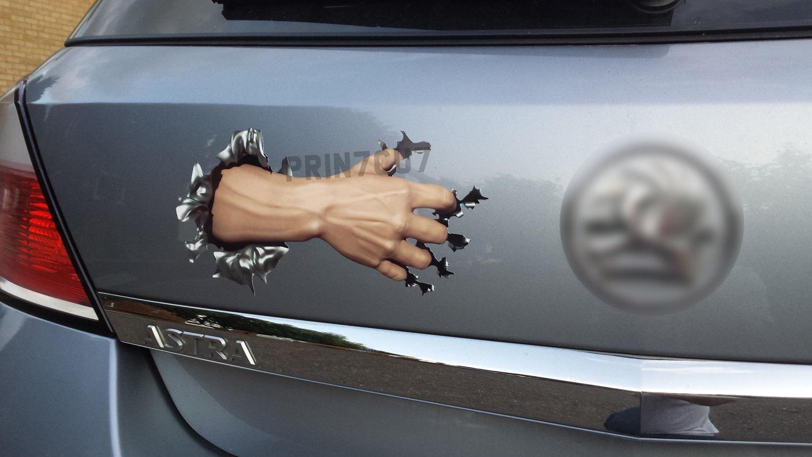 Arm Tearing Metal Rip Hole Decal Sticker Car Bumper Door